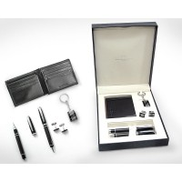 Gift Set with Leather Wallet, Metal Pen, Keychain & Cufflinks