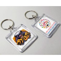 Acrylic Square Shape Keychain with Printed Logo