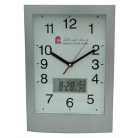 Analog Digital Wall Clock W/Date & Temp