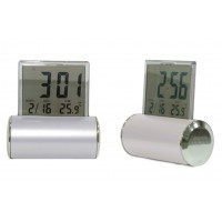 Digital Desk Clock Sliver with Perpetual Calendar & Temperature