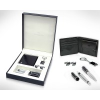 Gift Set with Leather Wallet, Metal Pen, Key ring & Cufflinks