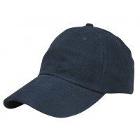 Heavy Brushed Cotton Cap 6 Panels Full Navy Blue