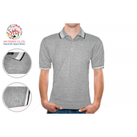 PerryWille  Cotton Polo Shirt - Coolfit 2Ply Cotton- Grey color with Pin Stripes