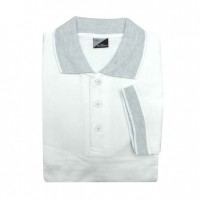 Windsor Polo Shirt - White With Grey Colar