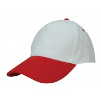 Basic Cotton Cap 5 Panels White & Red