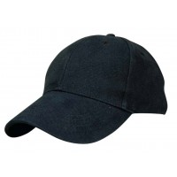 Heavy Brushed Cotton Cap 6 Panels Black